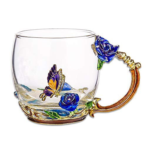 COAWG Flower Glass Tea Mug, 11oz Lead Free Handmade Butterfly and Blue Rose Glass Cup with Handle, Unique Personalized Birthday Gift Ideas for Women Mother Grandma Teachers Hot Beverages(Short -