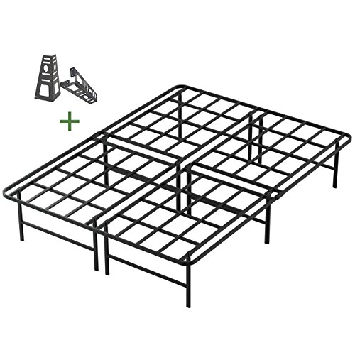 - 45MinST 16 Inch Tall SmartBase Mattress Foundation/Platform Bed Frame/3000LBS Heavy Duty/Extremely Easy Assembly/Box Spring Replacement/Quiet Noise-Free, Queen/King/Cal King(Queen)