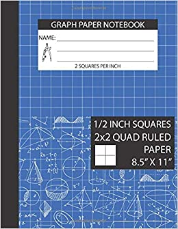 graph paper notebook 1 2 inch squares 2x2 graph paper notebook 8 5