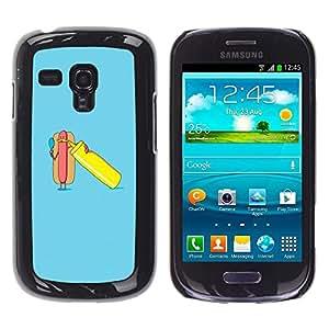 Poster divertido del azul minimalista Hot Dog- Metal de aluminio y de plástico duro Caja del teléfono - Negro - Samsung Galaxy S3 MINI i8190 (NOT S3)
