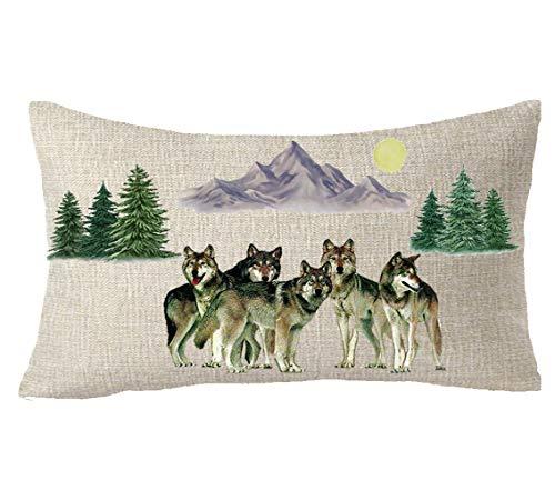 - FELENIW Wild Animal Tree Branch Animal Wolf Mountain Moon Pine Tree Blessing Gift Cotton Linen Decorative Throw Pillow Cover Cushion Case Lumbar 12X20 inches