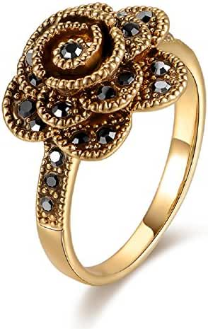 Mytys Retro Vintage 18k Yellow Gold Plated Black Marcasite Flower Crystal Rings