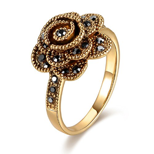 Mytys Vintage Classic Black Marcasite Rose Flower Gold Fashion Rings (8) (Rose Flower Cocktail Ring)