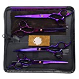 LILYS PET Professional PET Dog Grooming Coated Titanium Scissors Suit Cutting&Curved&Thinning Shears (7.0 inches, Purple)
