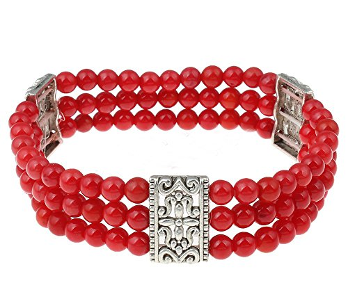 TreasureBay Three Strands 6mm Red Coral Beaded Women's Bracelet - Presented in A Beautiful Jewelry Gift Box