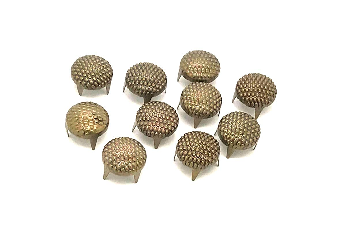 100 x EIMASS® Dotted Brass/Bronze 8mm Circular Round Dome Studs Rivets with Prongs to Embellish Shoes, Bags, Leather, Crafts, Belts, DIY