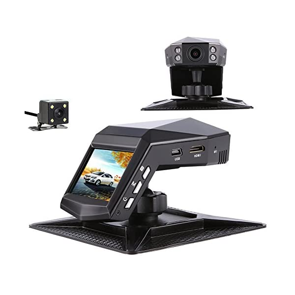Car Camera Front And Rear, Full HD 1296P Dual View Dash Cam 140°Wide Angle Dashboard Camera With Front IR Night Vision…