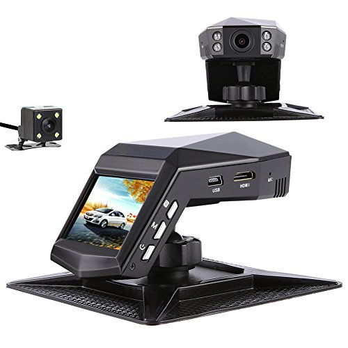 Car Camera Front And Rear, Full HD 1296P Dual View Dash Cam 140°Wide Angle Dashboard Camera With Front IR Night Vision, WDR, Motion Detection, Parking Monitor, G Sensor, Loop Recording
