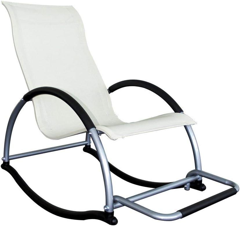 LYN&xxx Silla con Estilo Fuerte Marco de Aluminio Fácil Cuidado de la Tela del balanceo Suave Movimiento práctico, fácil de Transportar 59 * 115 * 96cm,Blanco