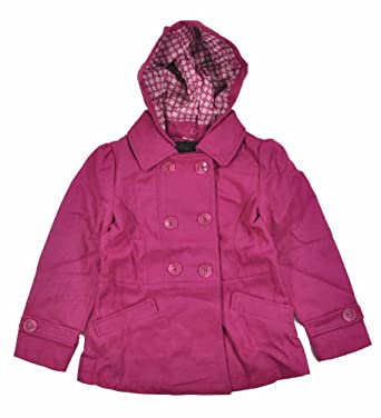 Amazon.com: Yoki Little Girls Hooded Double-Breasted Faux Wool Pea ...