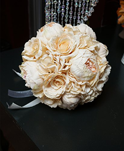 Sweet Home Deco 12'' Roses Hydrangeas Peonies Silk Wedding Bride Bouquet Artificial Flowers Ivory (12''w)