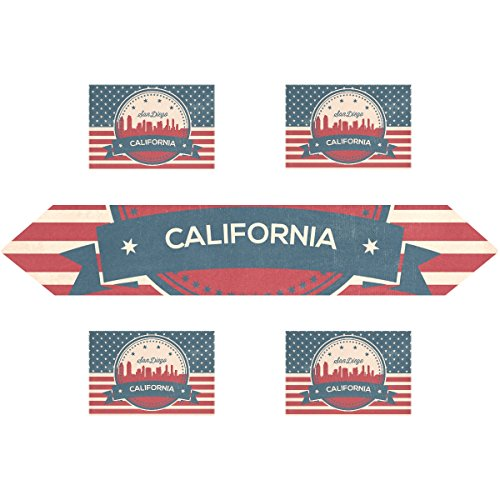 Vintage American Flag California State San Diego Skyline Rectangle Table Runner 13 x 70 inch with Placemat Table Mat 12 x 18 inch Set of 4, for Wedding, Party, Dinner, Summer & Picnic Country Outdoor