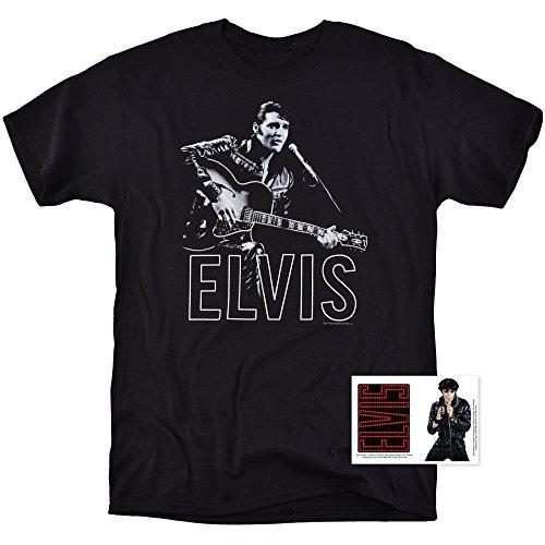 Elvis Presley '68 Comeback Special Black Leather Rock 'n' Roll T Shirt (Large) ()