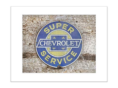Vintage Chevrolet Sign 5x7 Inch Matted Photo Print Masculine Art
