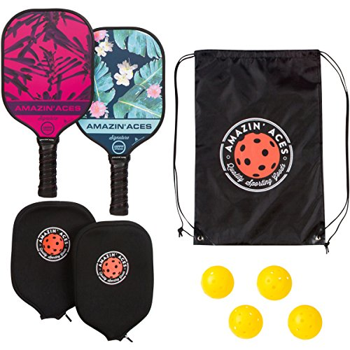 Graphite Ball - Amazin' Aces Signature Pickleball Paddle | USAPA Approved | Graphite Face & Polymer Core | Premium Grip | Paddles Available as Single or Set | Set Includes Balls & Bag | Includes Racket Case & eBook