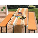 Black Textiles Beer Bench Cover Beer Tent Set Padded with Table Cloth 3 Pieces Stripes