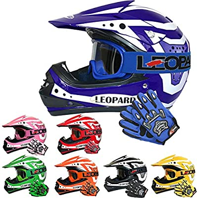 Leopard LEO-X17 Casco de Motocross para Niños Azul S (49-50cm) y ...