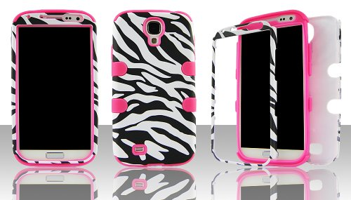 Silicone Skin Zebra (Samsung S4 i9500 hybrid 3 in 1 Black & White Zebra with Pink Gel - (Silicon Gel inside, Hard Plastic Outside) Case Cover Snap-On)