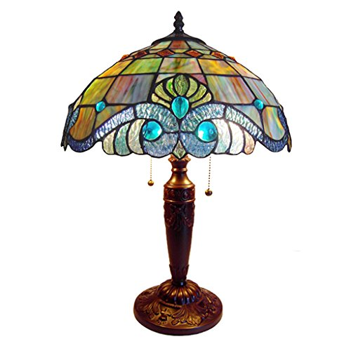 River of Goods 10836 Vivienne Baroque Style Stained Glass Table (Baroque Stained Glass Table Lamp)