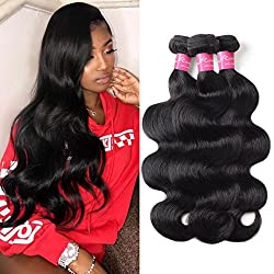 Mink Hair 8A Brazilian Virgin Hair Body Wave (12 14 16) Unprocessed Body Wave Human Hair Bundles Wet and Wavy Human Hair Weave Extensions Natural Color