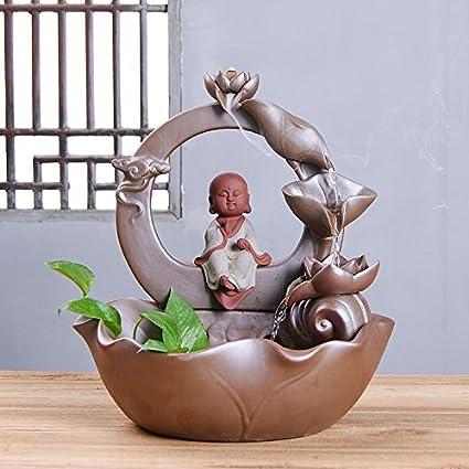 Long Decoraciones de cerámica Artesanal Tres sartenes reflujo Santo Fuente rociado Casa Villa Handmade, D
