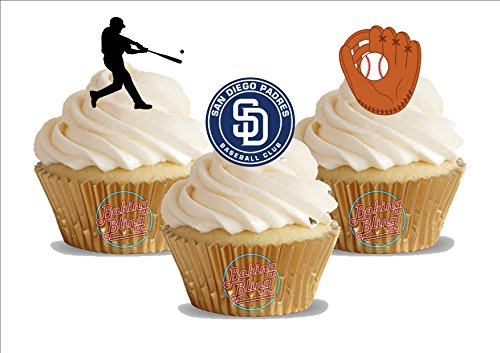 12 x Baseball San Diego Padres Mix - Fun Novelty Birthday PREMIUM STAND UP Edible Wafer Card Cake Toppers Decoration