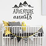 BATTOO Adventure Awaits Wall Decal Stickers - Adventure Quotes Travel Theme Wall Decor - Arrow Wall Decal - Mountain Wall Decal Bedroom Nursery Decor(Black, 44''WX38''H)