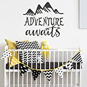 BATTOO Adventure Awaits Wall Decal Stickers - Adventure Quotes Travel Theme Wall Decor - Arrow Wall Decal - Mountain Wall Decal Bedroom Nursery Decor(Black, 44 WX38 H)