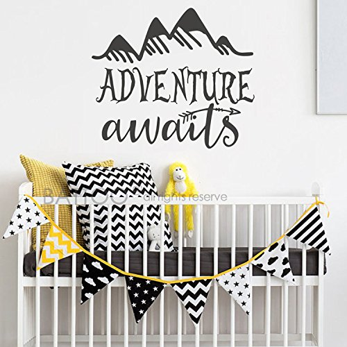 BATTOO Adventure Awaits Wall Decal Stickers - Adventure Quotes Travel Theme Wall Decor - Arrow Wall Decal - Mountain Wall Decal Bedroom Nursery Decor(Black, 44''WX38''H) by BATTOO