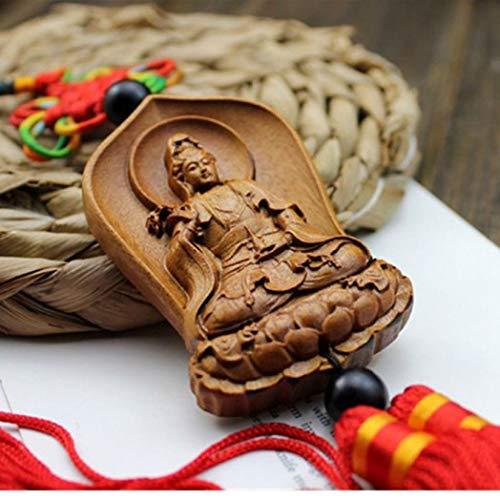 YOTATO Chinese Wood Carving & Buddha Beads Chinese Halloween Shakyamuni Statue Sculpture Amulet Car Pendant Netsuke