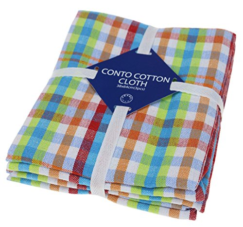 Classic Kitchen Towels, 100% Natural Cotton, The Best Tea Towels, Dish Cloth, Absorbent and Lint-Free, Machine Washable, 16 x 24 Inch, 3 Pack, Multi ()