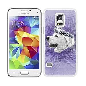 Funda carcasa para Samsung Galaxy S5 Mini diseño perro golden con corona de flores fondo purpura borde blanco