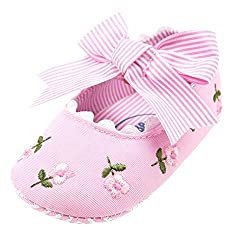 Elaco Infant Baby Girls Moccasins Anti-Slip Soft Sole Princess Shoes (12~18 Month, Pink)