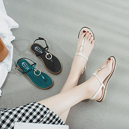 para de con Sandalias Mujer ITTXTTI Suaves Color Zapatos Mujer para muelles Zapatos Verde Antideslizantes y Verano Huecos negro y Planos 5X7XdqB