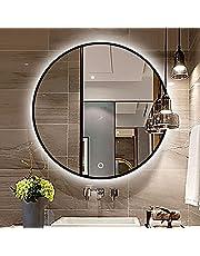 Badrum Väggmonterad Sminkspegel med Anti-dimfilm, Kantning i Svart Läder LED-upplyst Badrumsspegel, Touch-kontroll Vattentät Spegel för Flera Användningsområden
