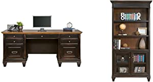 Martin Furniture Hartford Credenza, Brown - Fully Assembled & Hartford Library Bookcase, Brown - Fully Assembled