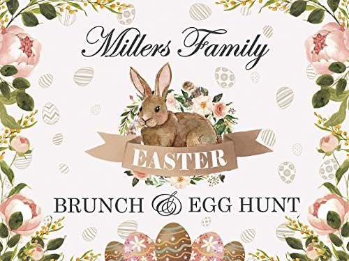 Easter Egg Hunt Party Banner, Easter Sunday Personalized Poster, Rabbit, Easter Bunny Welcome Sign, Easter Brunch, Easter Backdrop, Handmade Party Decorations, Size 24x36, 48x24, 48x36, ()
