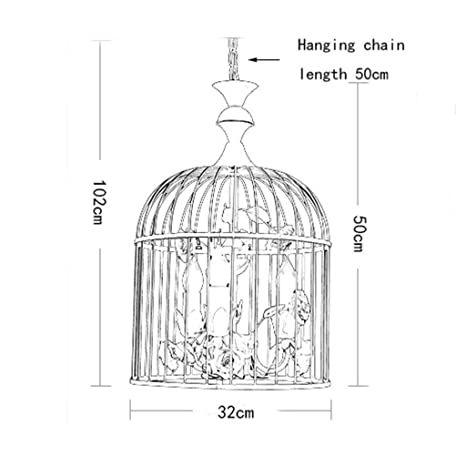 Lámpara de techo Lámpara de jaula de pájaros de hierro forjado ...