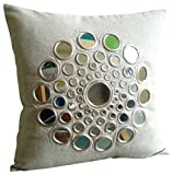 The HomeCentric Beige Pillow Cover 16x16 inches, Mirror Pillows Cover, 16''x16'' Pillow Cover, Square Cotton Linen Pillows Covers for Couch, Geometric Modern Pillow Covers - Circle Of Life