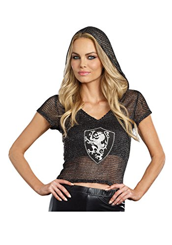 Halloween Costumes Diy For Girls (Dreamgirl Women's Knight Time Top Hooded Warrior DIY Costume Accessory, Black, Small/Medium)