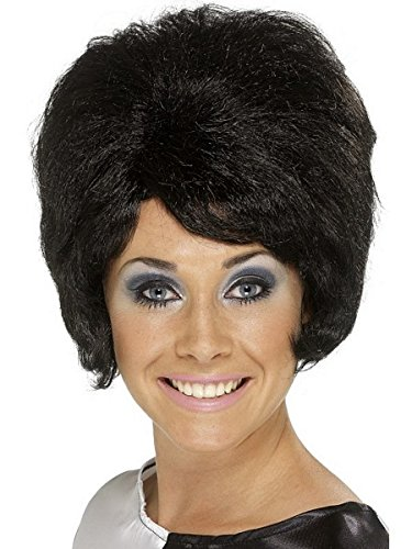 [Smiffy's Women's 60's Beehive Wig, Short and Black Wig, One Size, 42272] (Black Beehive Wig)