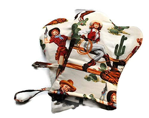Cowgirl Mitt (Handmade Cowgirl Oven Mitts Alexander Henry White)