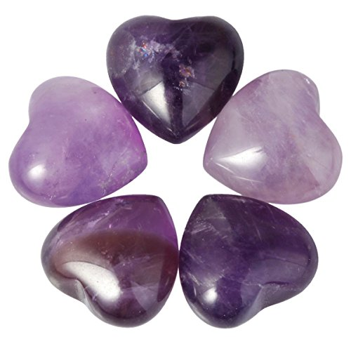 (SUNYIK Amethyst Pocket Mini Puff Heart Worry Healing Palm Stone Pack of 10(0.5
