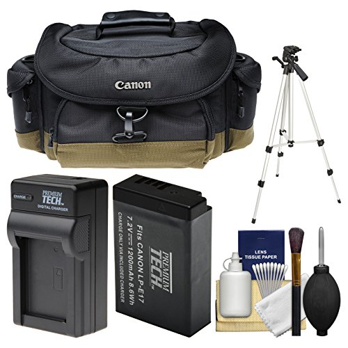 Canon 10EG Deluxe Digital SLR Camera Case - Gadget Bag with LP-E17 Battery & Charger + Tripod + Cleaning Kit for Rebel SL2, T6s, T6i, T7i, EOS 77D by Canon