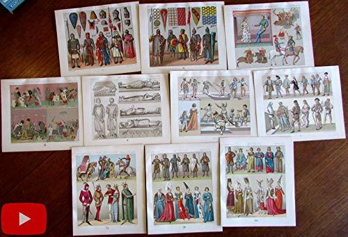 Middle Ages Europe c.1880's color Fashion prints Costume lot x 10