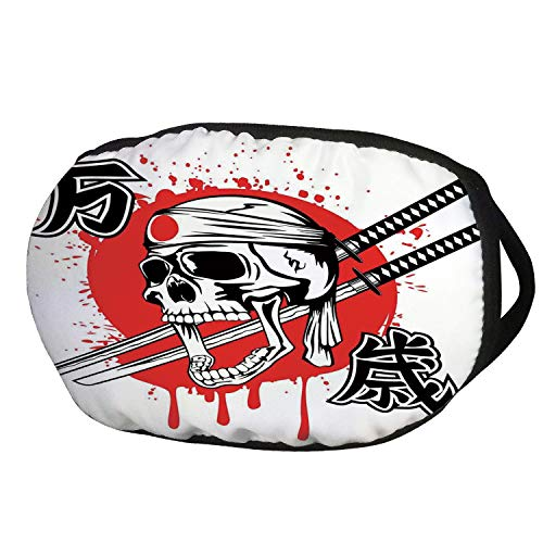 Fashion Cotton Antidust Face Mouth Mask,Japanese,Skull of Kamikaze with Bandanna Samurai Swords Japanese Flag Picture Art,Red White Black,for women & men