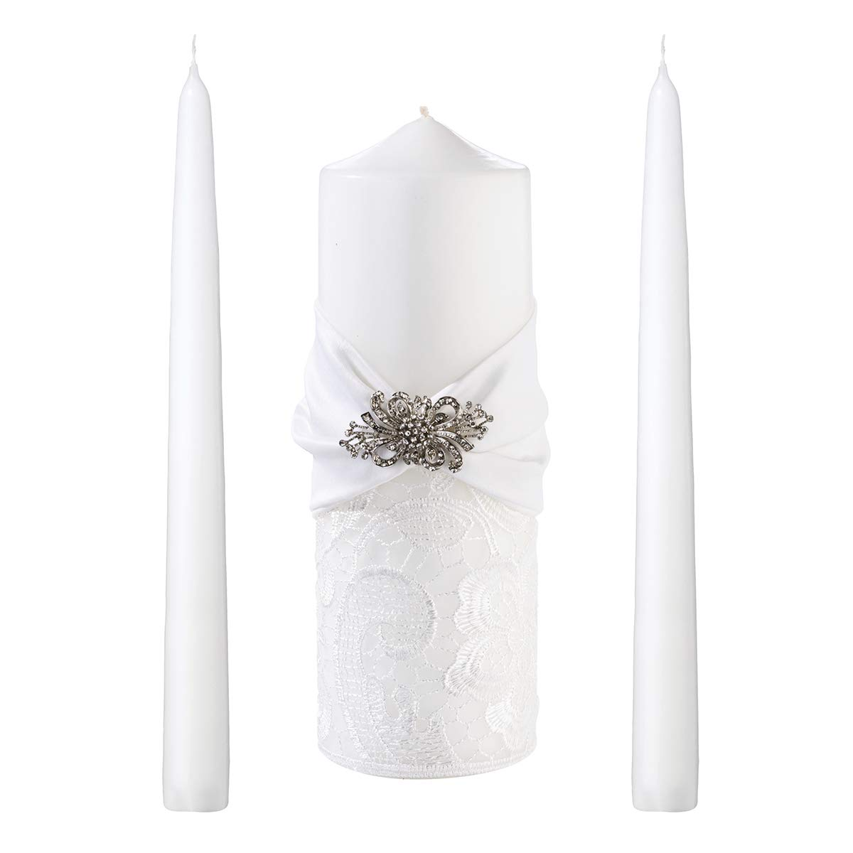 Lillian Rose WS727 W White Lace Wedding Unity Candle Set, 11.25 x 7.5 x 4.75, Multicolor