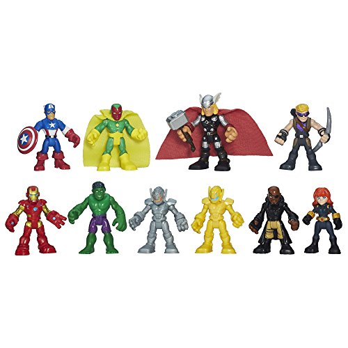 Playskool Heroes Marvel Super Hero Adventures Ultimate Super Hero Set, 10 Collectible 2.5-Inch Action Figures, Toys for Kids Ages 3 and Up (Amazon Exclusive)]()