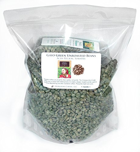 Sumatra Gayo Unroasted Green Coffee Beans, 3 lb