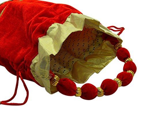Las Mujeres De La Boda Del Monedero Partido Bordado Nupcial Embrague India Noche Potli Bolso El rojo y el oro metálico